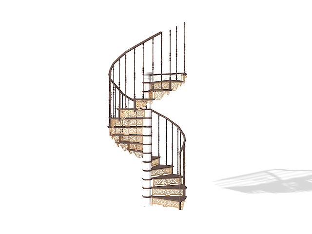 Gentil 3D Model Of Vintage Metal Spiral Staircase. Available 3d File Format: .max  (3ds Max) V Ray Render. Texture Type: Jpg. You Can Free Download This 3d  Objects ...