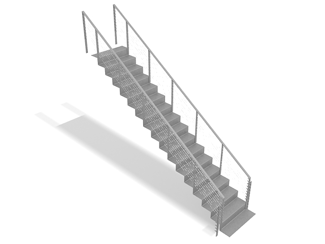 Straight Flight Staircase 3d Model 3ds Max Files Free Download Modeling 32916 On Cadnav