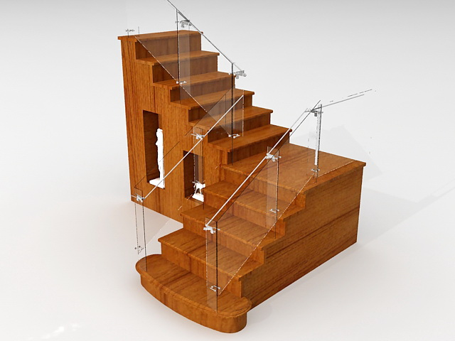 Wood Stairs With Storage 3d Model 3ds Max Files Free