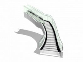 Granite stairs with glass railing 3d model