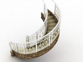Marble staircase with stainless steel railing 3d model