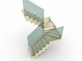 Wooden winder stairs 3d model