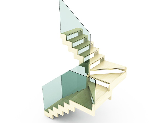 Wooden Winder Stairs 3d Model 3ds Max Files Free Download