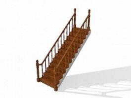 Straight run staircase 3d model