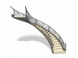 Luxurious arched stairs 3d model