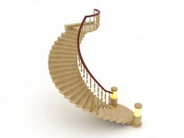 Curved marble staircase 3d model