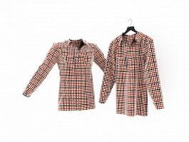 Long sleeve plaid shirt 3d model