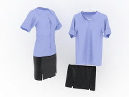 Formal blouses and skirts 3d model