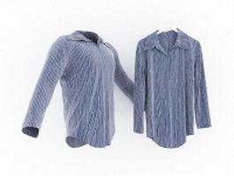 Men's blue and white striped shirt 3d model