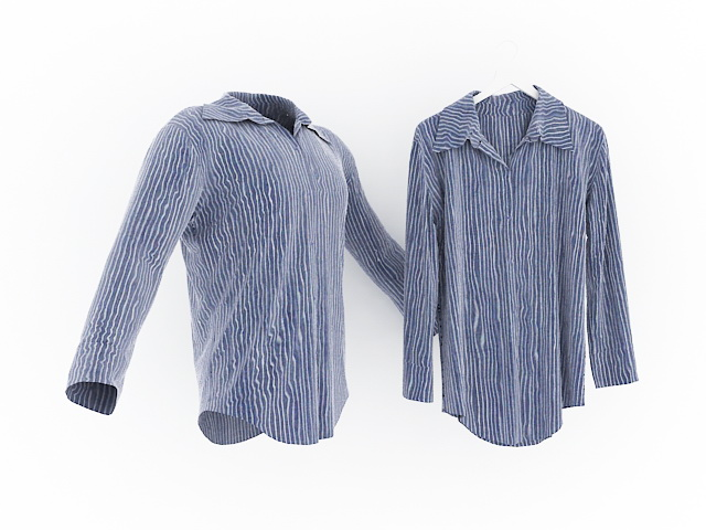 Men S Blue And White Striped Shirt 3d Model 3ds Max Files