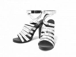 Silver high heeled sandals 3d model