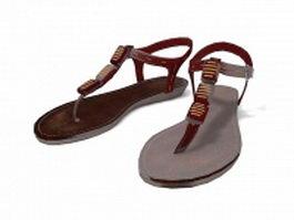 Flip flops sandals for women 3d model
