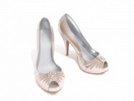 Champagne color high heel shoes 3d model