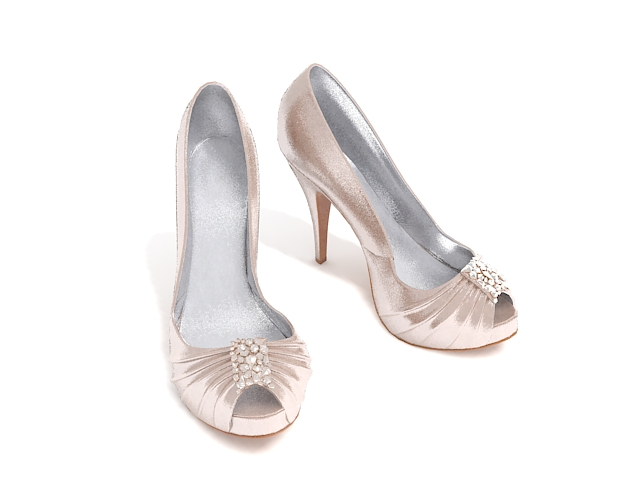 Champagne Color High Heel Shoes 3d Model 3ds Max Files