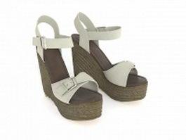 Platform wedge sandals 3d model