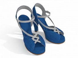 Jeans high heel shoes 3d model