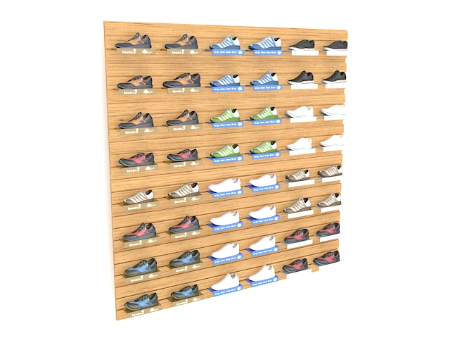 Shoe Wall Display 3d Model 3ds Max Files Free Download