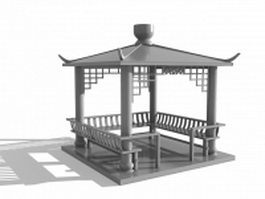Chinese square pavilion 3d model