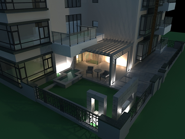 Exterior patio at night 3d model 3ds max files free for Build house online 3d free