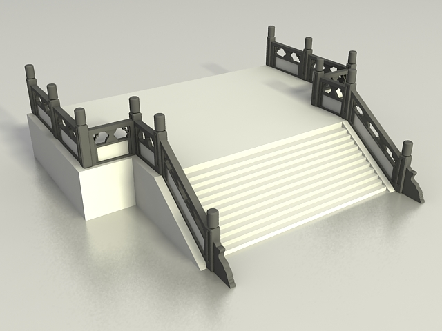 Deck With Stair And Railing 3d Model 3ds Max Files Free
