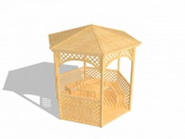 Outdoor wooden gazebos and shade structures 3d model