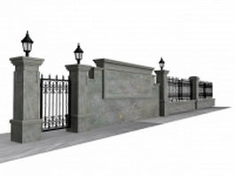 Antique garden wall fence 3d model