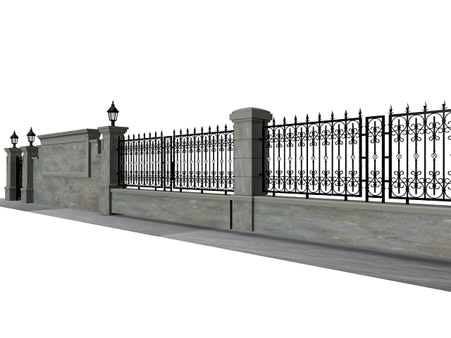 Antique garden wall fence 3d model 3ds max files free for 3d fence