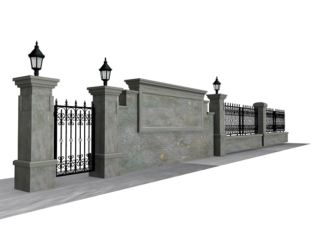 Antique Garden Wall Fence 3d Model 3ds Max Files Free