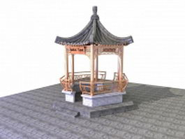 Antique pavilion in garden 3d model