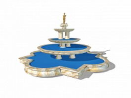 Typical European fountain 3d model