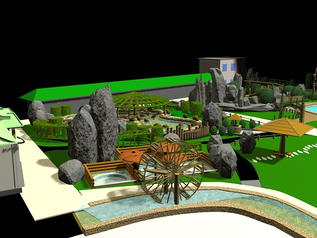 3D Model Of Small Park Landscape With Lawn River Pool Rockwork Artificial Hill Gazebo And Other Buildings Available 3d File Format
