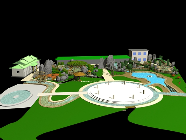 Small park landscaping ideas 3d model 3ds max files free for 3d pool design online free