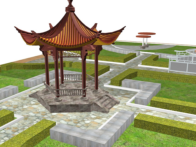 3d model of formal chinese garden with pavilion hedge lawn and outdoor furniture available 3d file format max 3ds max 2010 standard scanline renderer