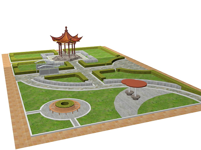 formal chinese garden design 3d model