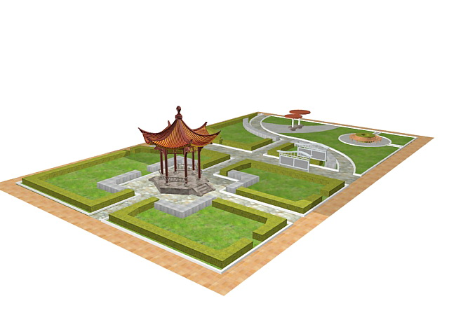 Formal chinese garden design 3d model 3ds max files free for Gardening tools 3d model