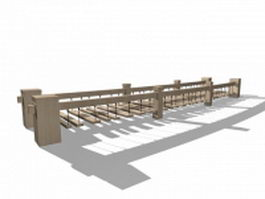 Wood plank rope bridge 3d model