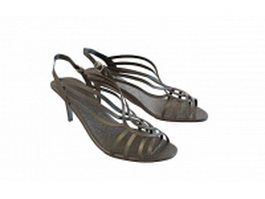 Black sandals for women 3d model