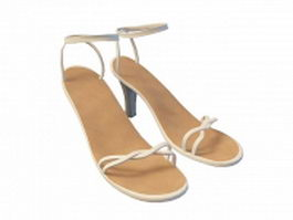 White sandals for girls 3d model
