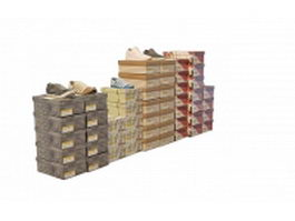 Shoe with packing boxes 3d model