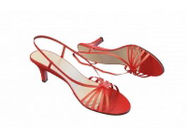 Red strappy sandals 3d model