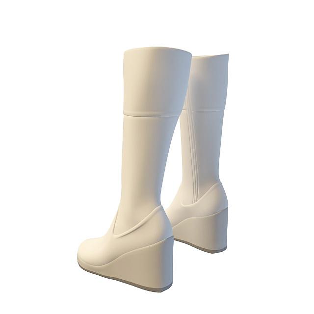 Wedge heel long boots 3d rendering