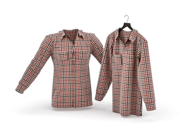 Plaided women's shirts 3d model