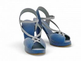 Blue high-heeled leather sandals 3d model