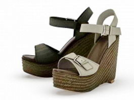 Wedge platform sandals 3d model