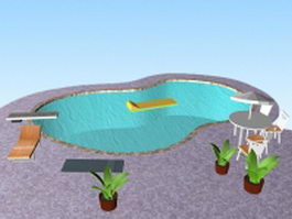 Outdoor swimming pool designs 3d model