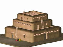 Pueblo Indian building 3d model