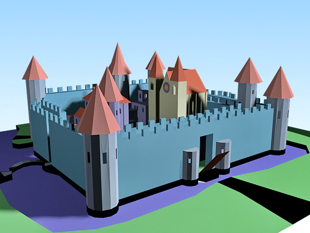 Cartoon Medieval Castle 3d Model 3ds Max Files Free