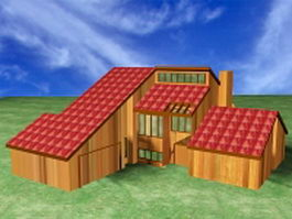 Country wooden homes 3d model
