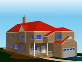 Big house with garage 3d model