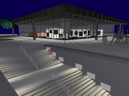 Modern art gallery building 3d model